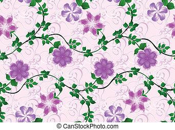 cor-de-rosa, lilás, padrão, luminoso, fundo, flores