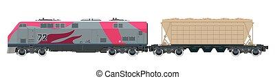 cor-de-rosa, locomotiva, com, hopper, car