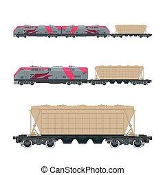 cor-de-rosa, locomotiva, com, hopper, car, ligado, plataforma