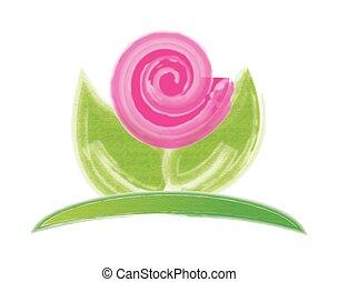 cor-de-rosa, logotipo, flor, cartão negócio