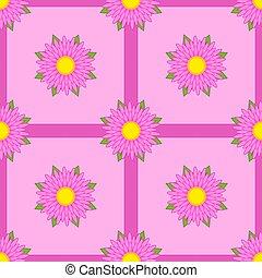 cor-de-rosa, luz, folhas, seamless, experiência verde, padrão, flores, fitas
