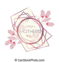 cor-de-rosa, mãe, quadro, círculo, dia, feliz
