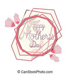 cor-de-rosa, mãe, quadro, hendecagon, dia, feliz