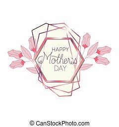 cor-de-rosa, mãe, quadro, hexágono, dia, feliz