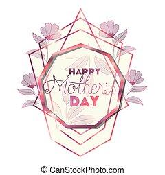 cor-de-rosa, mãe, quadro, nonagon, dia, feliz