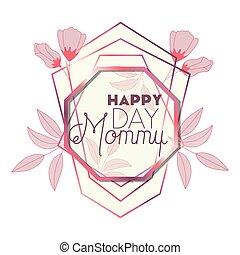 cor-de-rosa, mãe, quadro, octógono, dia, feliz
