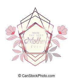 cor-de-rosa, mãe, quadro, pentágono, dia, feliz