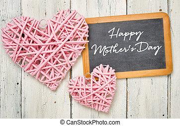 cor-de-rosa, mães, quadro-negro, -, corações, dia, feliz