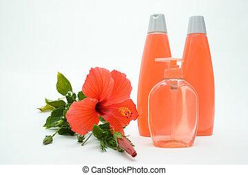 cor-de-rosa, macio, sabonetes, e, shampoo, com, flor