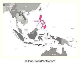 cor-de-rosa, mapa, filipinas., região, ásia, destacado, sudeste, vetorial