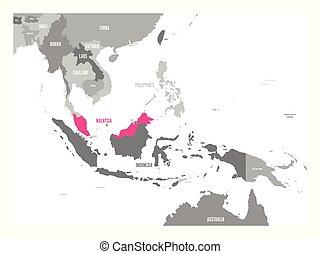 cor-de-rosa, mapa, região, ásia, destacado, sudeste, laos., vetorial