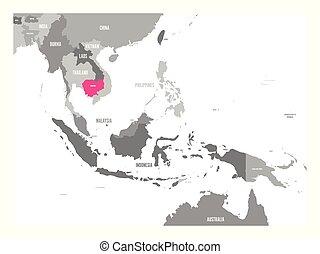 cor-de-rosa, mapa, região, ásia, destacado, sudeste, vetorial, cambodia.
