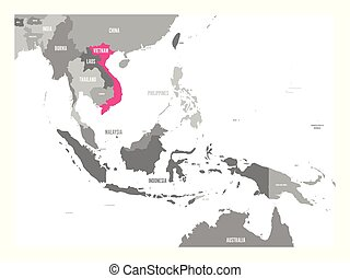 cor-de-rosa, mapa, região, ásia, destacado, sudeste, vetorial, vietnam.