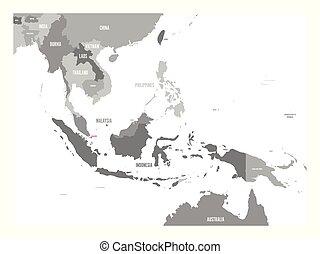 cor-de-rosa, mapa, região, singapore., destacado, sudeste, vetorial, ásia