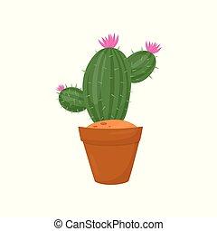 cor-de-rosa, marrom, planta, gardening., apartamento, indoor, pequeno, elemento, decoração, pot., vetorial, verde, spines., lar, flores, cacto