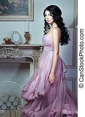 cor-de-rosa, menina, dress., magnífico