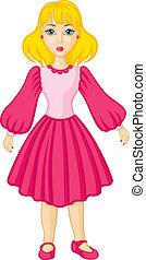 cor-de-rosa, menina, vestido