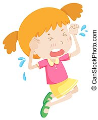 cor-de-rosa, menininha, chorando