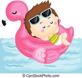 cor-de-rosa, menino, pequeno, flamingo, relaxante, cute, topo, flutuador, vetorial, piscina