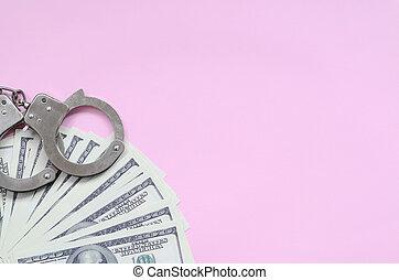 cor-de-rosa, mentira, polícia, dólares, algemas, nós, centenas, fundo