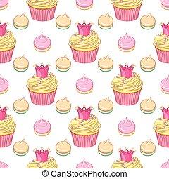 cor-de-rosa, merengues, cupcakes, pattern., coroa, seamless, vetorial