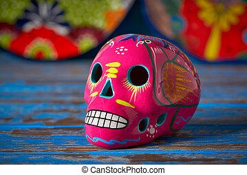 cor-de-rosa, mexicano, cranio, dia, arte, muertos