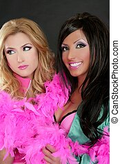 cor-de-rosa, moda, barbie, meninas, 1980s, retro, boa, pena