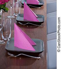cor-de-rosa, modernos, verde, servindo