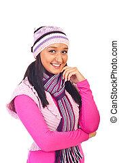 cor-de-rosa, morno, mulher, jovem, roupas