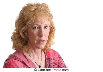 cor-de-rosa, mulher, atraente, velho