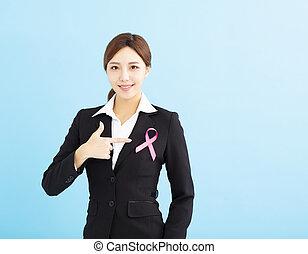 cor-de-rosa, mulher, câncer, jovem, fita, consciência