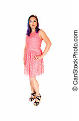 cor-de-rosa, mulher, dress.