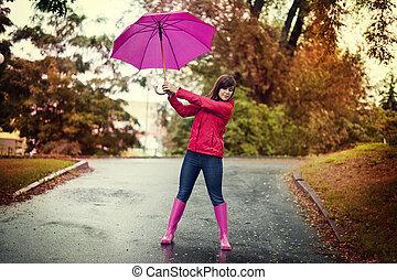 cor-de-rosa, mulher, guarda-chuva, parque, jovem, segurando