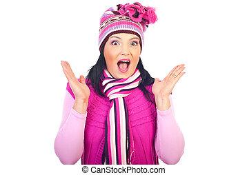 cor-de-rosa, mulher, inverno, espantado, roupas