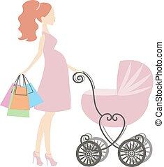 cor-de-rosa, mulher, mother's, shopping, fundo, grávida, vindima, mommy, modernos, venda, ilustração, stylized, logotipo, vetorial, carruagem, online, bebê, branca, loja, símbolo, ícone