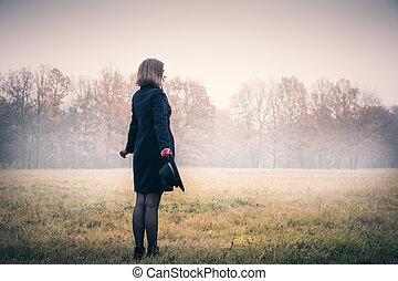 cor-de-rosa, mulher, nevoeiro, feliz