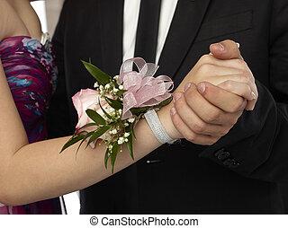 cor-de-rosa, mulher, pulso, buquê