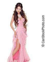 cor-de-rosa, mulher, romanticos, isolado, fundo, corpo inteiro, retrato, branca, encantador, vestido