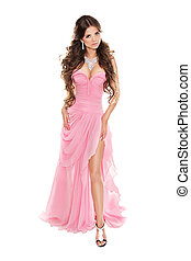 cor-de-rosa, mulher, romanticos, isolado, moda, fundo, corpo inteiro, retrato, vestido branco