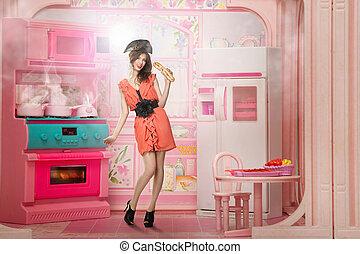 cor-de-rosa, mulher, semelhante, boneca, jovem, cokking, cozinha