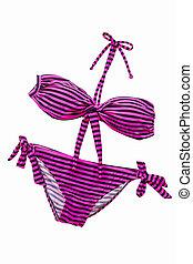 cor-de-rosa, mulher, suit., bikini., listrado, natação