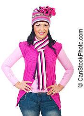 cor-de-rosa, mulher, tricotado, atraente, modelo, roupas