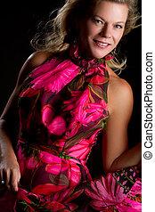 cor-de-rosa, mulher, vestido