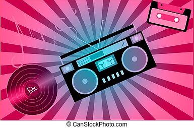 cor-de-rosa, musical, análogo, retro, antigas, hipster, vindima, gramophone, registro vinil, audiocassette, fita música, registrador, de, a, 80's, 90's, e, um, inscrição, música, ligado, a, fundo, de, a, rays., vetorial, ilustração