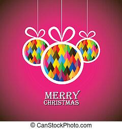 cor-de-rosa, natal, graphic., bolas, este, abstratos, véspera, ilustração, três, background-, vetorial, navidad), penduradas, decorado, xmas(feliz, bauble, mostra