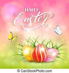 cor-de-rosa, natureza, ovos, ensolarado, fundo, páscoa
