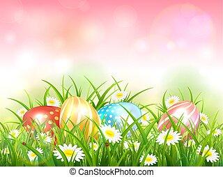 cor-de-rosa, natureza, ovos, fundo, capim, páscoa