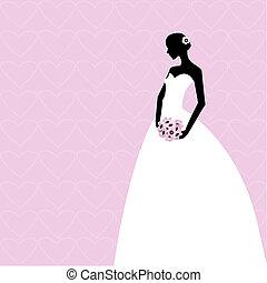 cor-de-rosa, noiva, cartão