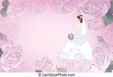 cor-de-rosa, noiva, cartão, fundo, casório
