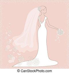 cor-de-rosa, noiva, fundo